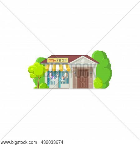 Wigs Store Isolated Shop Exterior Building Flat Cartoon Design. Vector Most Realistic Human Hair Wig