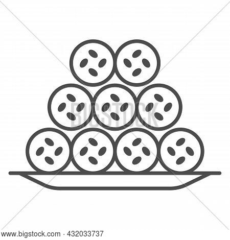 Fish Tubes In Batter Thin Line Icon, Asian Food Concept, Japanese Tempura Chikuwa Kamaboko Vector Si