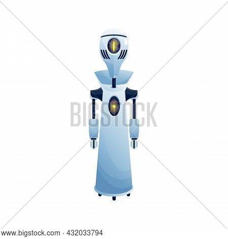 Artificial Intelligence Robot, Friendly Chatbot, Ai Helper With Star On Body Display Isolated Realis
