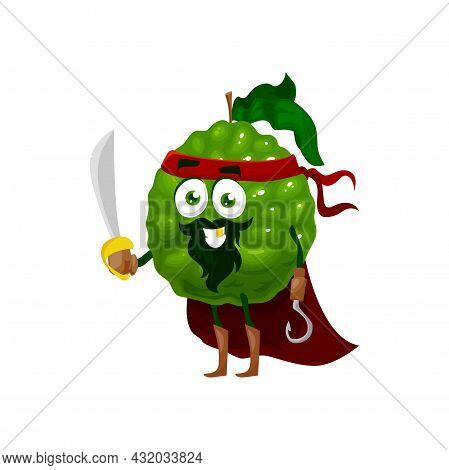 Bergamot Fruit Superhero Cartoon Character, Vector Tropical Fruit In Super Hero Costume. Bergamot Ci
