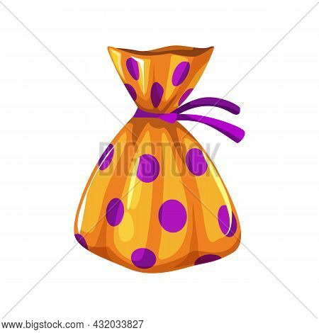 Realistic Chocolate Candy Wrapped In Gloss Orange Foil Paper With Purple Dots Isolated Halloween Tri