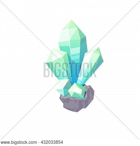 Turquoise Gemstone Isolated Blue Shiny Precious Stone Geology Mineral. Vector Expensive Gem, Natural