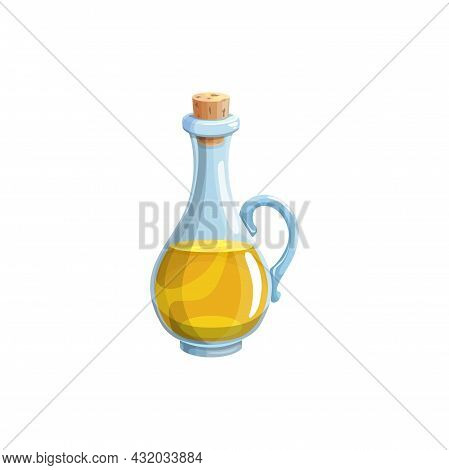 Extra Virgin Soy, Olive Or Sunflower Oil In Bottle With Cork Isolated Realistic Icon. Vector Jar Of