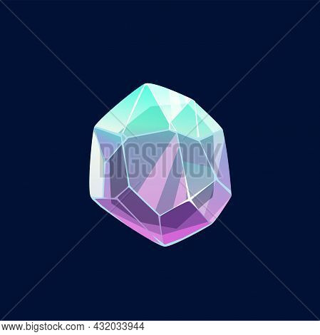 Gem Stone, Diamond Or Magic Crystal Vector Icon. Lilac Or Turquoise Rock, Unfaceted Raw Mineral. Cry