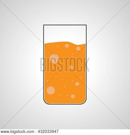 Orange Soda. Orange Juice Glass Vector Illustration.