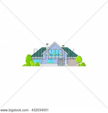 Cottage House, Real Estate Private Building Vector Icon. Countryside Villa Of Classic Design With Gr