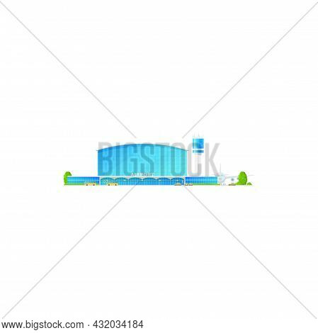 Concourse Airport Building Isolated Modern Terminal Icon. Vector Airplanes And Control Tower, Plane