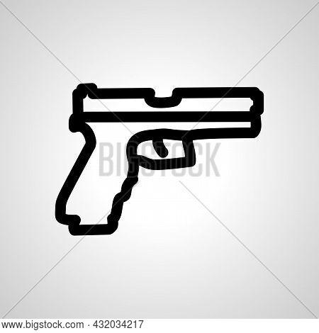 Gun, Pistol Vector Line Icon. Gun, Pistol Linear Outline Icon
