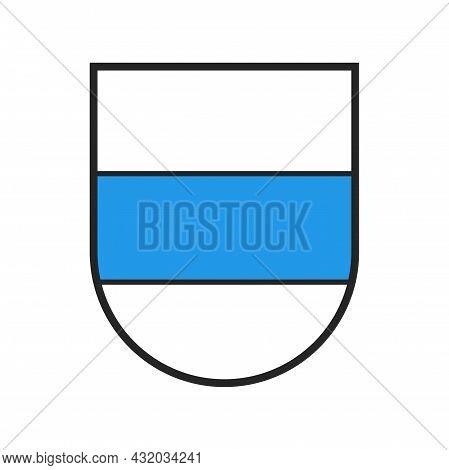 Switzerland Canton Flag, Swiss Zoug City Emblem And Crest Coat Of Arms, Vector Heraldic Shield. Schw