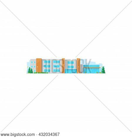 Supermarket City Building Isolated Fastfood Grocery Store. Vector Shopping Center, Electronic Applia