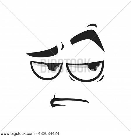 Cartoon Face Vector Suspecting Emoji With Eyes Look Sullenly And Closed Mouth. Doubt Facial Expressi
