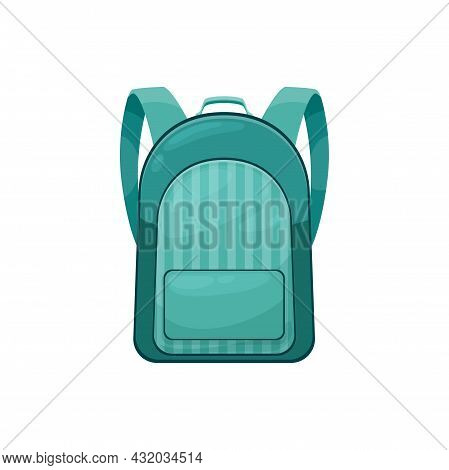 Kids Schoolbag Isolated Vector Icon, Cartoon Student Rucksack Of Green Color With Slip Pocket. Hikin
