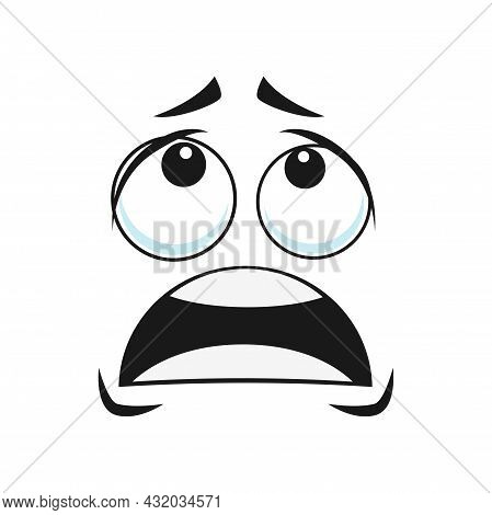 Cartoon Face Vector Icon, Scared Or Upset Emoji, Funny Facial Expression, Negative Shocked Feelings,