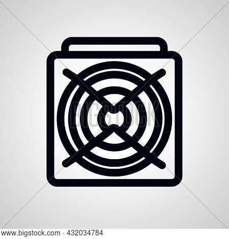 Asic Miner Vector Line Icon. Asic Miner Linear Outline Icon