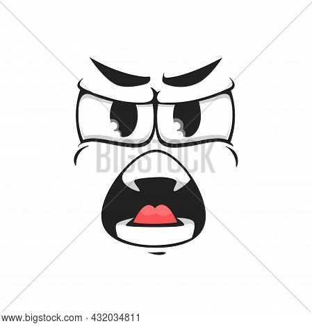 Horror Face Expression, Crazy Screaming Emoticon Isolated Icon. Vector Shouting Smiley, Screaming Ch