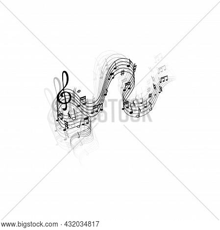 Music Wave, Vector Musical Notes And Treble Clef On Curvy Stave With Multiple Shadow. Melody Sounds,