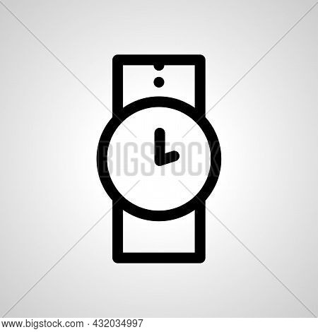 Wrist Watch Vector Line Icon. Wrist Watch Linear Outline Icon
