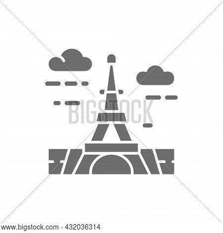 Vector Eiffel Tower, France, Landmark Grey Icon.