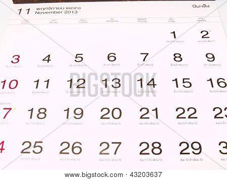 November 2013 Gregorian and lunar calender from Thailand poster