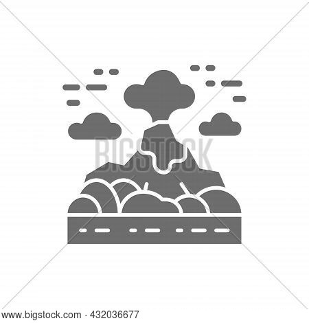 Volcano, Mountains Landscape Grey Icon. Isolated On White Background