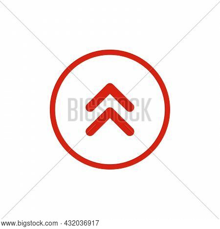 Black Vector Double Chevron Arrows Pointing Upward. Road Sign For Turn. Stock Vector Illustration Is