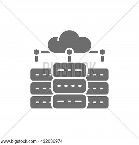 Web Hosting Server, Data Centre, Distributed Database Grey Icon.