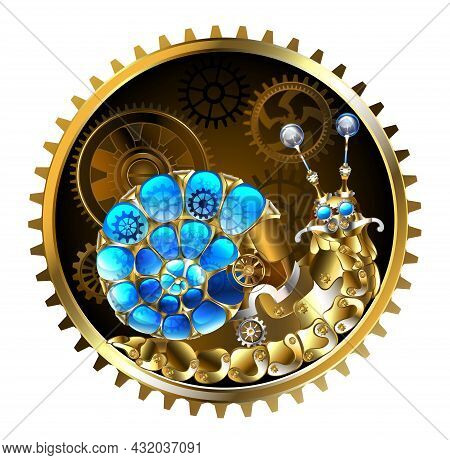 Mechanical Snail Made Of Brass, Metal Parts With Luminous, Transparent, Blue, Spiral Shell, Decorate