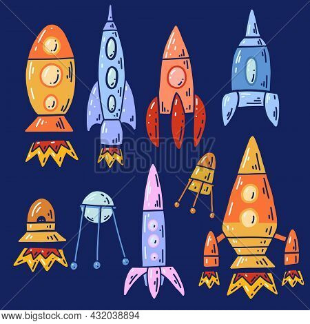 Set Of Cartoon Contour Space Ships And Ufo. Outline Technological Ships. Vector Childish Object Of S