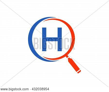 Magnifying Glass On Letter H Concept. Search Logo. Initial H Letter Magnifying Glass Logo Design