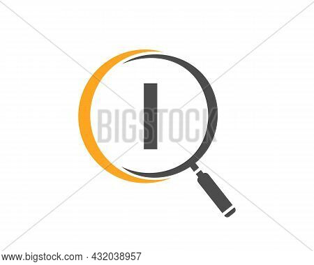 Magnifying Glass On Letter I Concept. Search Logo. Initial I Letter Magnifying Glass Logo Design