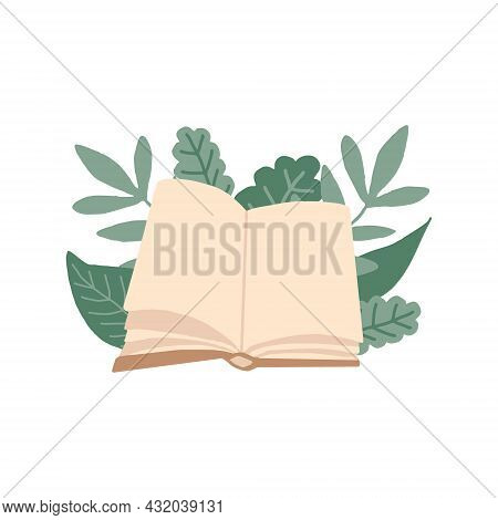 Book And Leaves Hand Drawn In Trending Color 2021. Scandinavian Hygge. Cozy Home. Library, Learning,