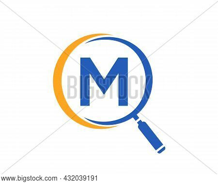 Magnifying Glass On Letter M Concept. Search Logo. Initial M Letter Magnifying Glass Logo Design