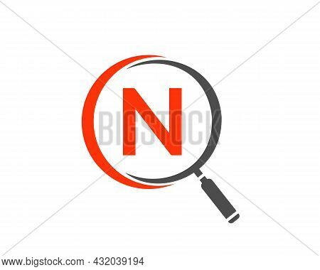 Magnifying Glass On Letter N Concept. Search Logo. Initial N Letter Magnifying Glass Logo Design