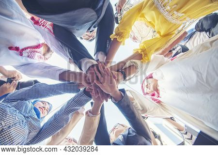 Diverse Multiethnic Partners Hands Together Teamwork Group Of Multi Racial People Meeting Join Hands