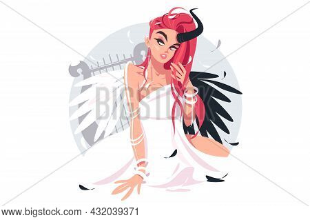 Beautiful Fallen Angel Girl Vector Illustration. Female Angel Character With Wings And Horn Flat Sty