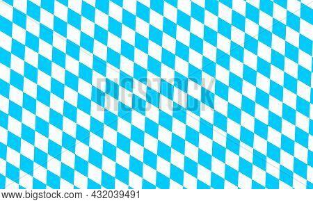 Bavarian Lozenge Background. Traditional Oktoberfest Pattern With Blue And White Rhombus. Bavaria Fl