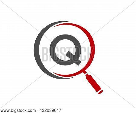 Magnifying Glass On Letter Q Concept. Search Logo. Initial Q Letter Magnifying Glass Logo Design