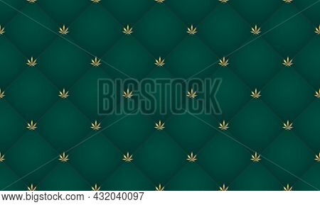 Cannabis Leaf Seamless Pattern. Green Abstract Upholstery Background With Golden Marijuana Leaf. Vin