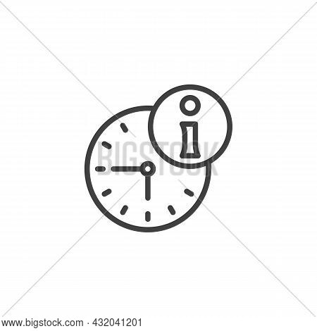 Help Desk Time Line Icon. Linear Style Sign For Mobile Concept And Web Design. Clock And Information