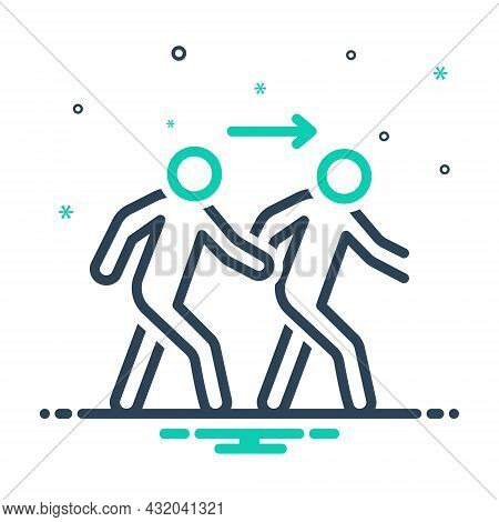 Mix Icon For Following Follow Trailing Consecutive Devotee Pursue Ensue Person Emember Coming Subseq