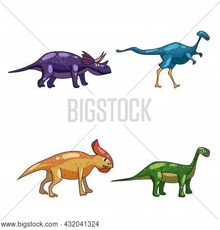 Set Funny Prehistoric Dinosaurus Triceratops, Brontosaurus. Collection Ancient Wild Monsters Reptile