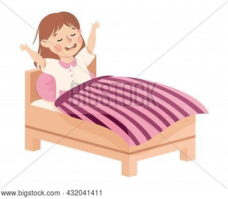 Little Girl Getting Up Or Waking Up In The Morning Engaged In Daily Activity And Everyday Routine Ve