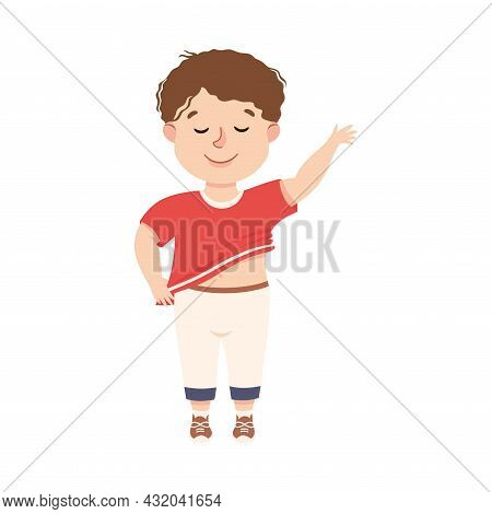 Little Boy Getting Dressed Engaged In Daily Activity And Everyday Routine Vector Illustration