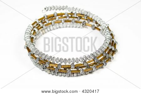 Bracelet From Silver Metal And Jewels Of Brown Colour