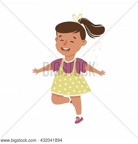 Energetic Girl With Ponytail Dancing Moving To Music Rythm Vector Illustration