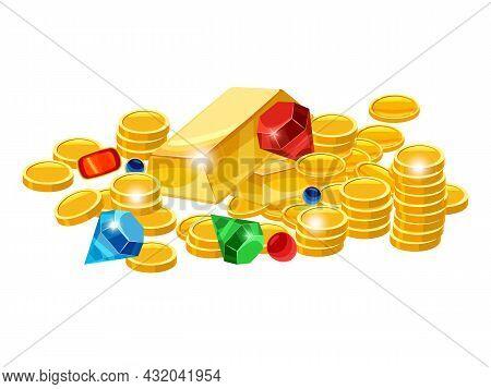 Set Of Treasure Gold Coins, Bar, Gems, , Jevels, Diamonds. Ancient Fantasy Pile Gold Luxury. Vector