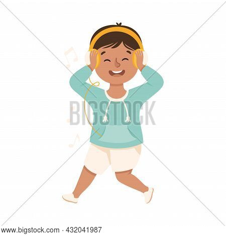 Energetic Boy With Headphones Dancing Moving To Music Rythm Vector Illustration