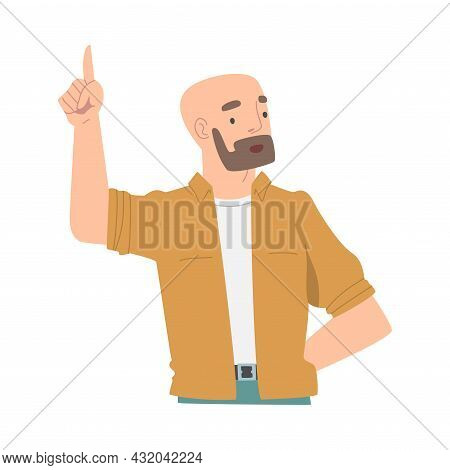 Bearded Man Character Pointing With Index Finger As Hand Gesture Vector Illustration
