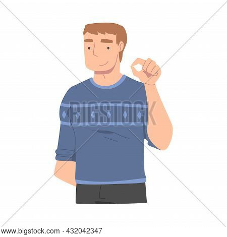 Smiling Man Character Showing Hand Gesture Vector Illustration