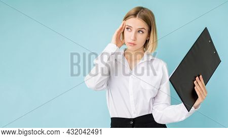 Hard Work. Exhausted Woman. Overwhelmed Tasks. Advertising Background. Sad Business Lady With Clipbo